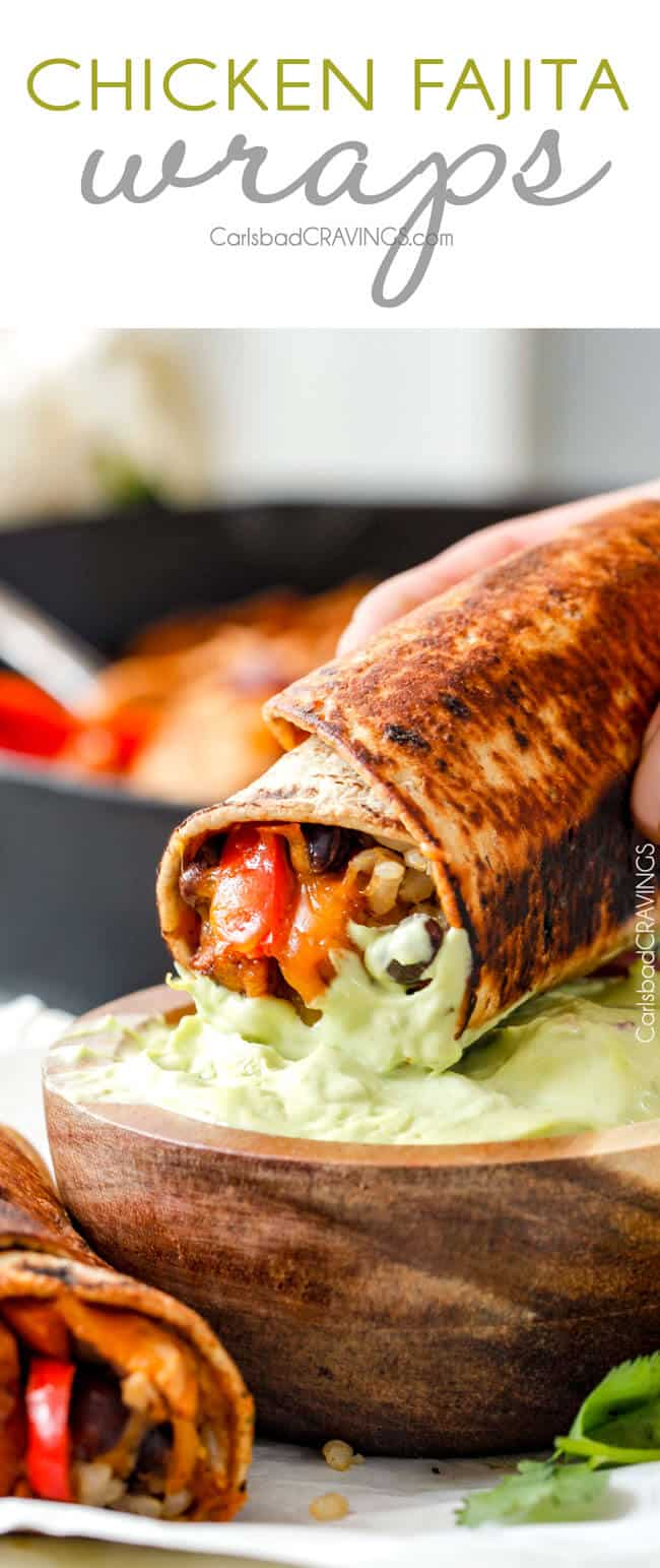 healthy, quick, easy, customizable, Chicken Fajita Wraps with Creamy Avocado Dip - layers of cheese, black beans, rice, the BEST chicken fajita filling, and sour cream all rolled up then skillet toasted for slightly crispy wraps that are absolutely addicting!! This is our family's favorite way to eat leftover chicken fajita filling!