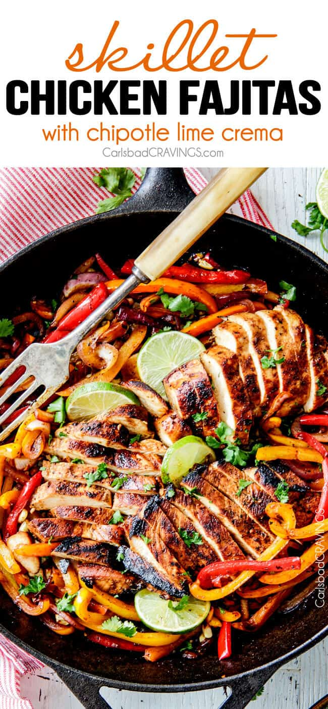 easy chicken fajitas in a skillet with bell peppers, onions and lime