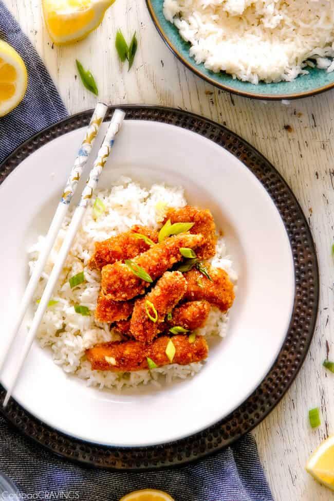 Crispy Chinese Lemon Chicken with white rice.