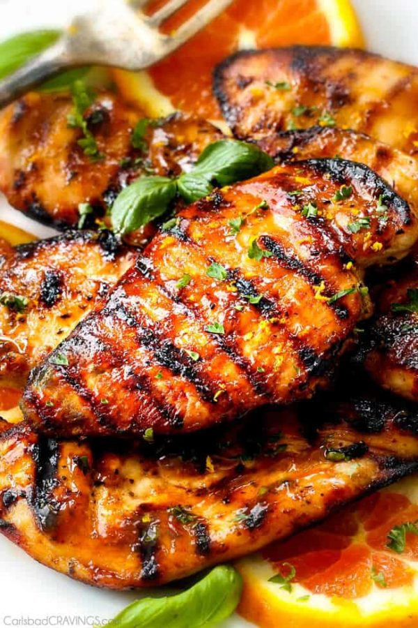 10 Minute prep Grilled or Stove Top Chipotle Maple Chicken - I LOVE this chicken! sweet and tangy with just the right amount of heat for my whole family. I make it multiple times a month and have it with veggies, on salads and in sandwiches. I especially love the extra glaze on my veggies!
