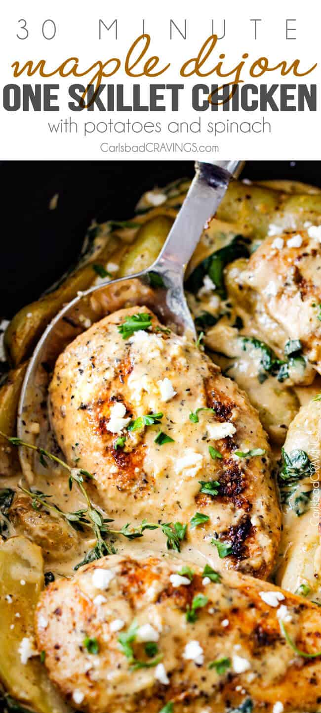Maple Dijon Chicken Skillet serving with a spoon.