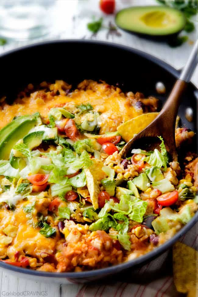 One Skillet Mexican Chicken and Rice with Jalapeno Ranch