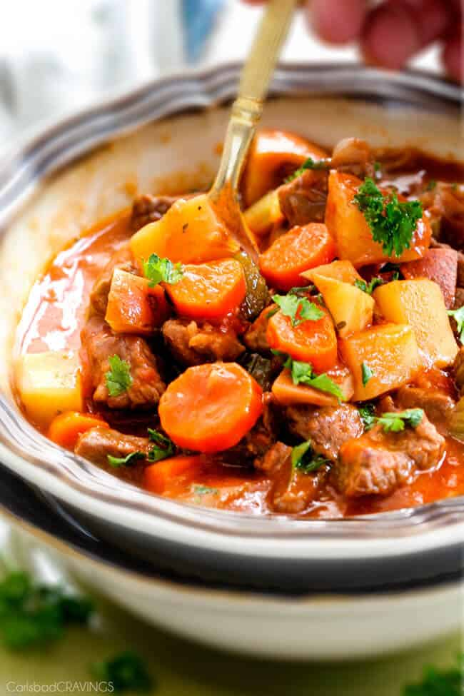 Slow Cooker Beef Stew - this is the best beef stew recipe I have ever tried! Super flavorful and SO Easy! You will want to drink the gravy broth!