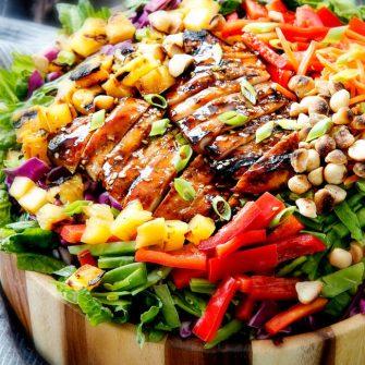 Teriyaki Chicken Salad with Pineapple Sesame Dressing