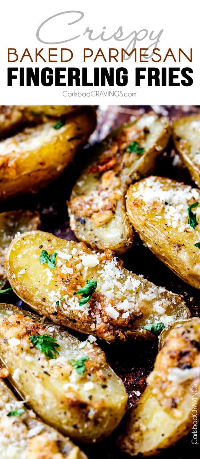 Crispy Baked Parmesan Fingerling Potato Fries.