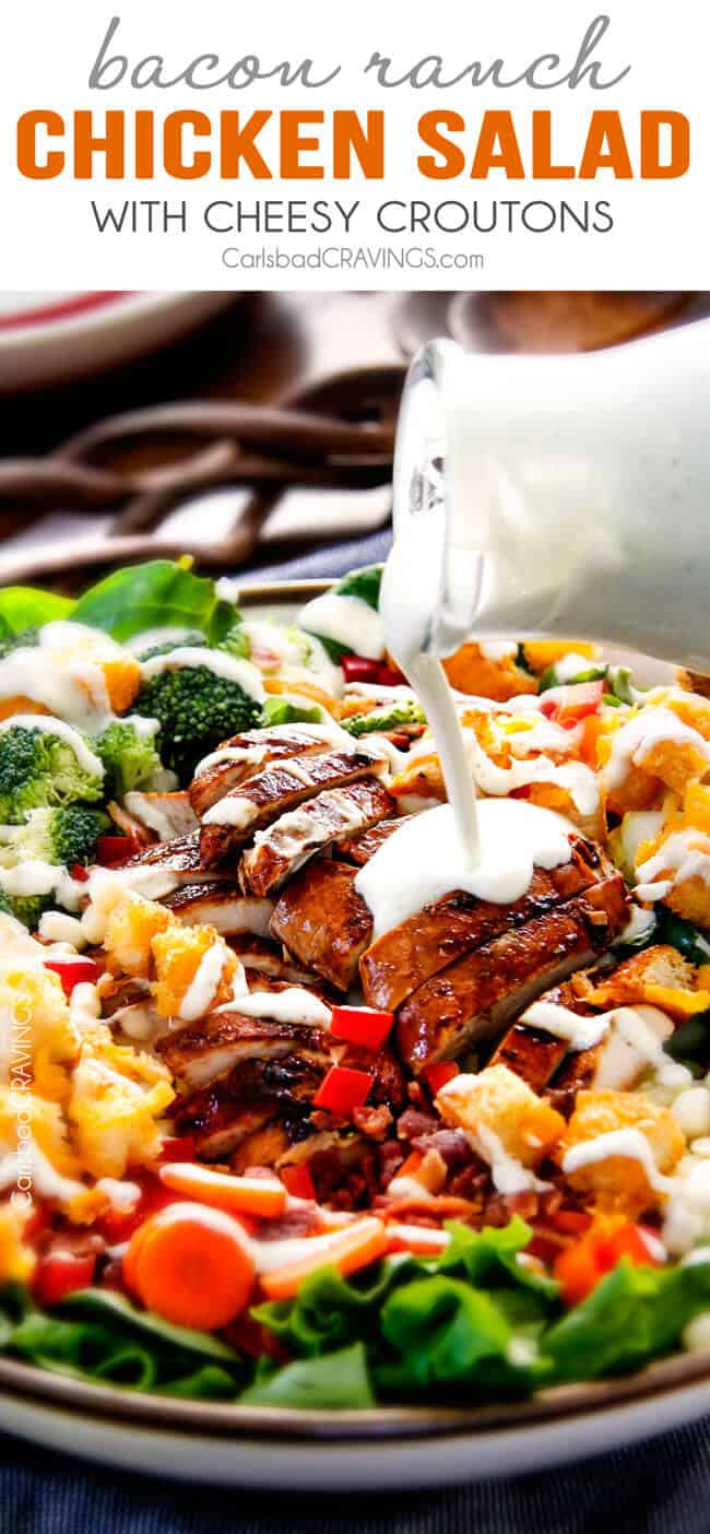 Bacon Ranch Chicken Salad with Cheesy Croutons -My entire family LOVES this salad! The juicy chicken is out of this world and the cheesy croutons are the only ones I will ever eat from now on! and the dressing...I could go on and on! There has never been a more addictive salad!