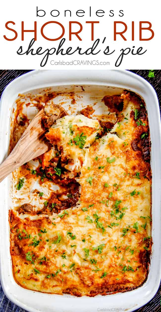 The BEST Shepherd's Pie!!! Savory, comforting Boneless Short Rib Shepherd's Pie elevates shepherd's (or cottage pie) to a whole new level with melt in your mouth meat and Swiss Gruyere Mashed Potatoes! This is guaranteed to be a new family favorite!!!