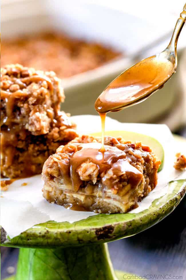 Salted Caramel Apple Pie Blondies with caramel being poured on top.
