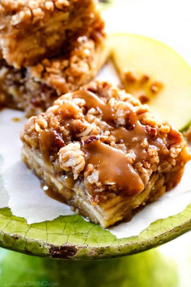Caramel Apple Pie Blondies - these are amazing and so much easier than apple pie! A soft buttery blondie base topped with apple filling and topped with pecan crumble and caramel