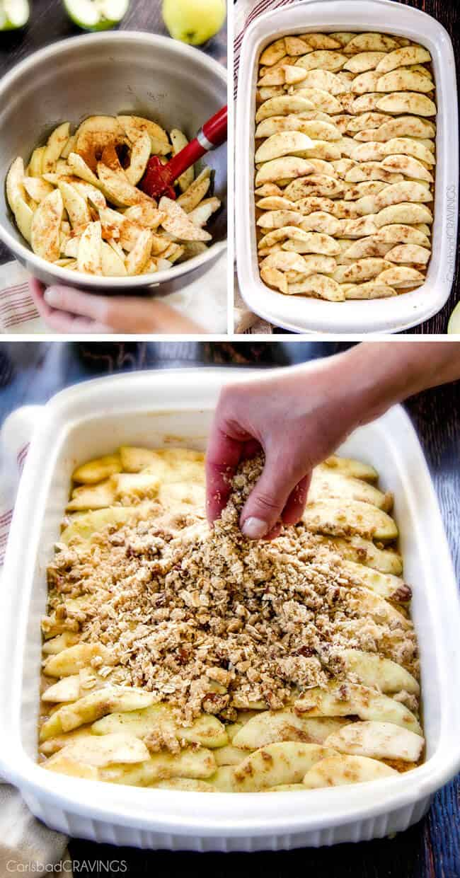 Showing how to make Salted Caramel Apple Pie Blondies by preparing the apples.