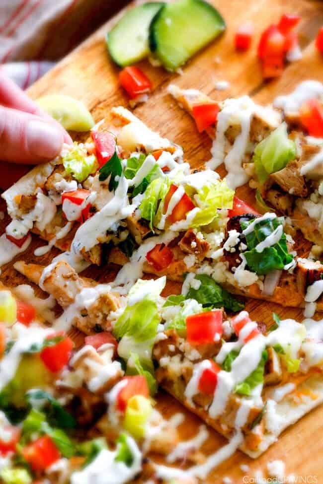 Chicken Gyro Flatbread Pizzas – these are amazing and SO quick and easy! An explosion of flavors and textures with the most flavorful Greek Chicken and easy Blender Tzatziki! Great for lunch/dinners or for appetizers and entertaining!