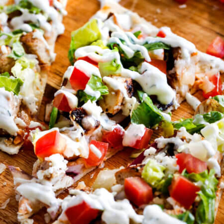 Greek Chicken Gyro Flatbread Pizzas