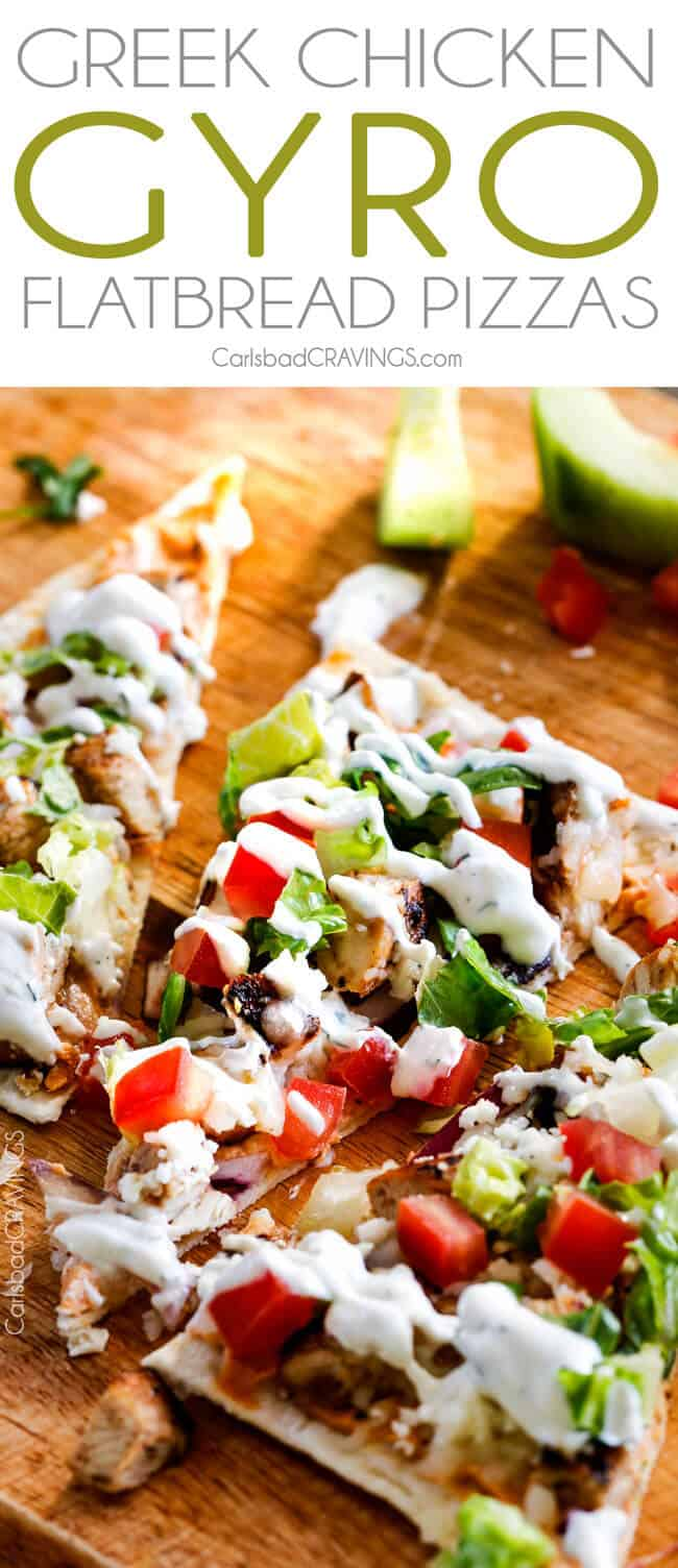 Greek Chicken Gyro Flatbread Pizzas – these are amazing and SO quick and easy! An explosion of flavors and textures with the most flavorful Greek Chicken and easy Blender Tzatziki! Great for lunch/dinners or for appetizers and entertaining!