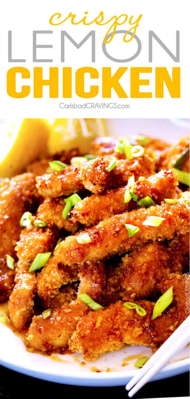 Crispy Chinese Lemon Chicken with green onion on top.