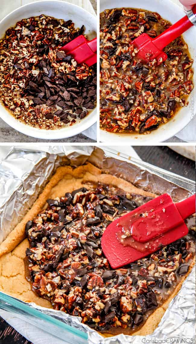 Showing how to make Chocolate Chunk Pecan Pie Bars by mixing ingredients.
