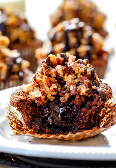 German Chocolate Cupcakes with Chocolate Ganache Filling - these are the best cupcakes I've had in my entire life! They are super rich and chocolaty without being over the top and the filling and frosting are divine! Everyone always asks me for this recipe!