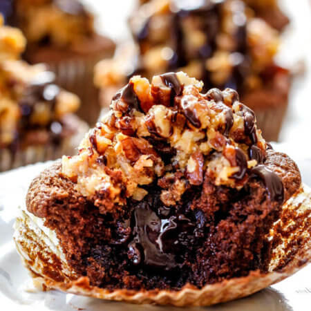 German Chocolate Cupcakes with Ganache Filling
