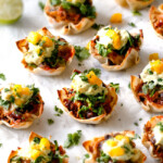 Salsa Verde Honey Lime Chicken Taco Cups