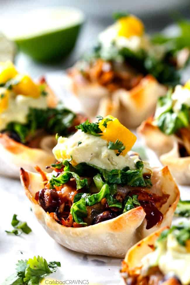 Side close up view of Salsa Verde Honey Lime Chicken Taco Cups.
