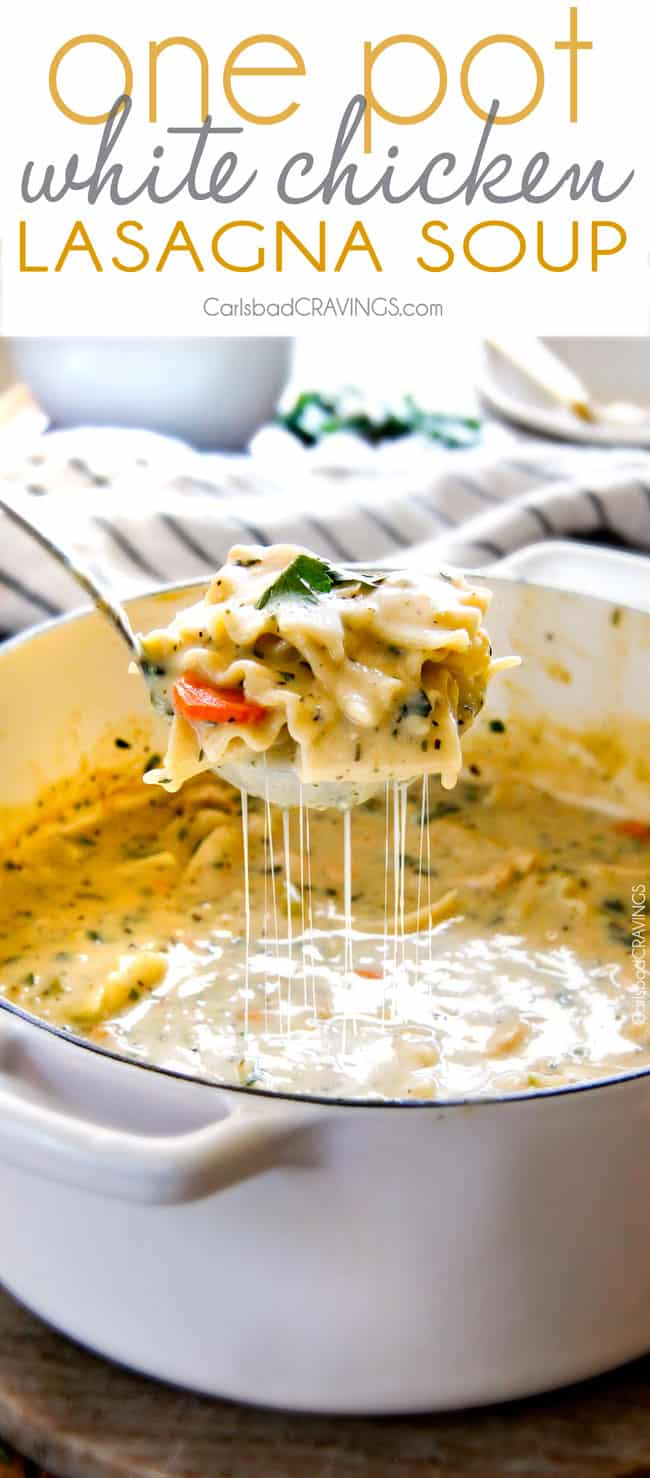 Easy One Pot White Chicken Lasagna Soup - my family LOVES this soup! It tastes just like creamy white chicken lasagna without all the layering or dishes! Simply saute chicken and veggies and dump in all ingredients and simmer away!