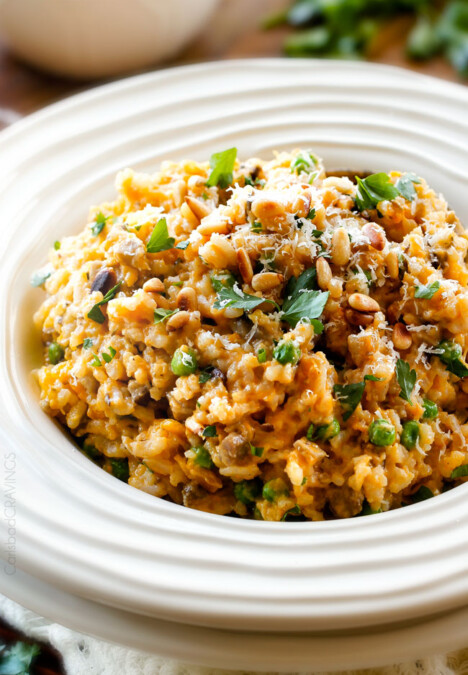 No Babysitting, easy, creamy BAKED Butternut Squash Risotto! This simple to prepare risotto is wonderfully smooth and creamy, seasoned to perfection and is absolutely fool proof! It makes the most amazing Thanksgiving or holiday side but is easy enough for every day!