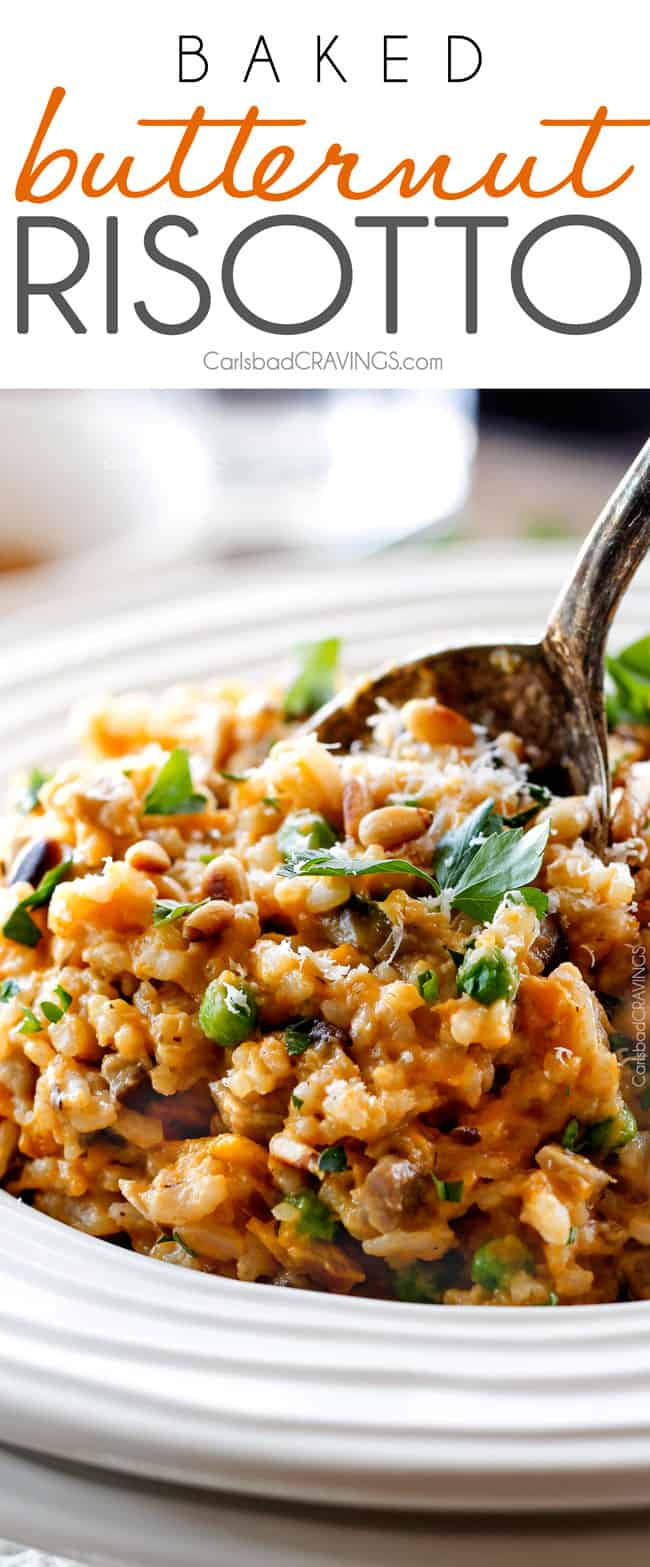 No Babysitting, easy, creamy BAKED Butternut Squash Risotto with Pine Nuts and Pepper Jack! This simple to prepare risotto is wonderfully smooth and creamy, seasoned to perfection and is absolutely fool proof! It makes the most amazing Thanksgiving or holiday side but is easy enough for every day!