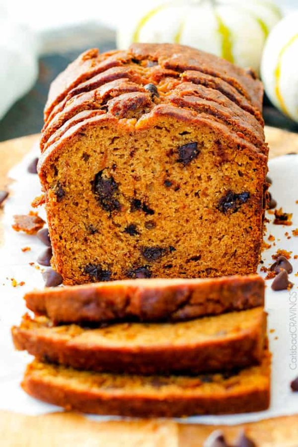 My Mom's Famous Chocolate Chip Pumpkin Bread! So incredibly moist, infused with cinnamon, cloves and nutmeg with only 2 bowls and one whisk required! Everyone will BEG you for this recipe!