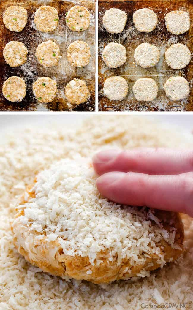 a collage showing how to make crab cakes by forming patties, freezing then covering with panko