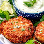 Crispy Crab Cakes with Creamy Tomatillo Jalapeno Dip