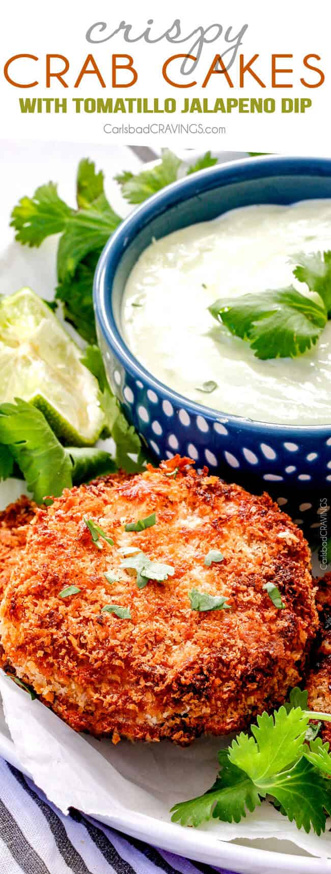 up close of best crab cake recipe on a white place with crab cake sauce