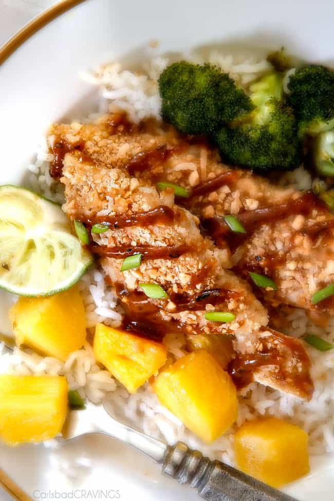 One Pan Thai Peanut Coconut Chicken with Pineapple - this is incredible! The chicken is breaded in peanuts, panko and coconut and the sauce of pineapple juice, coconut milk, brown sugar, peanut butter, etc. is the best peanut sauce I've ever have! and of course, the one pan is awesome! love the roasted pineapple!
