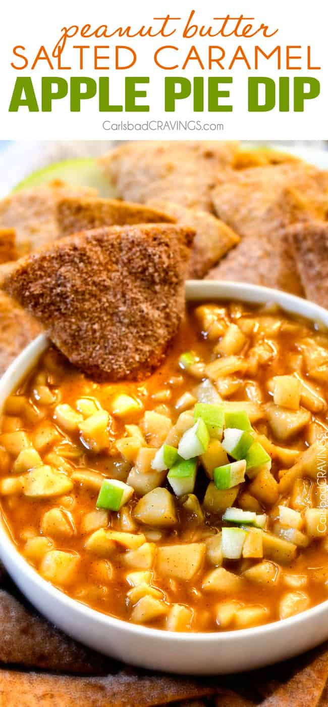 Salted Caramel Peanut Butter Apple Pie Dip - I cannot stop eating this dip!!! Warm, cinnamon brown sugar apples smothered in caramel with just the right amount of creamy peanut butter! INSANE!! #thanksgiving #appetizer