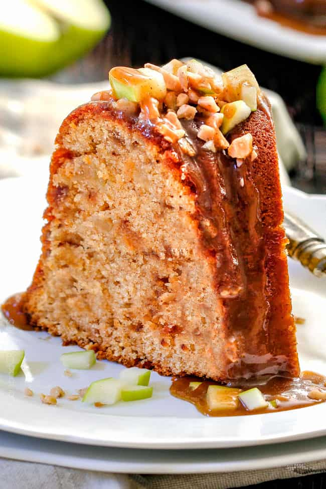 My FAVORITE apple cake! Toffee Apple Pound Cake with the most incredible Spiced Caramel bursting with sweet toffee bits and apples in every bite! Everyone goes crazy over this cake!