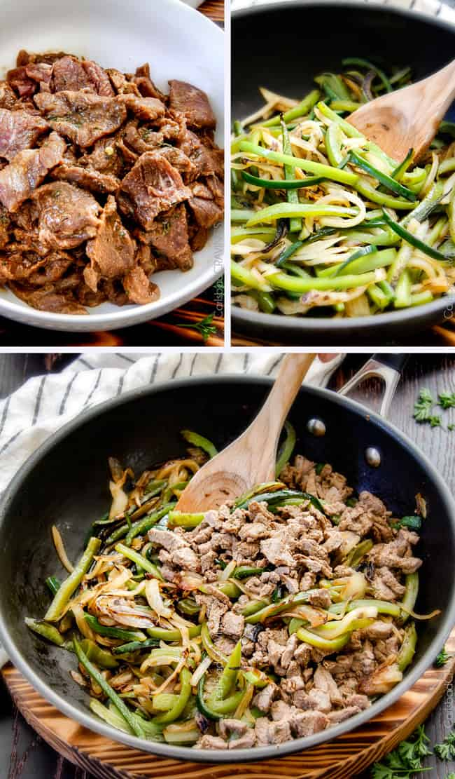 collage showing how to make Best Philly Cheesesteak Recipe by thinly slicing steak, marinating steak, cooking bell peppers and combing steak and bell peppers in a pan
