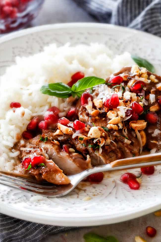 One pan, 30 minute Asian Pomegranate Coconut Chicken Skillet is one of my favorite sweet, savory tangy, sauces ever! I am so in love with the flavors and ease of this dish! #30minutemeals