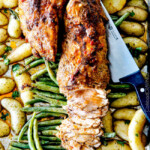 Sheet Pan Chili Dijon Pork Tenderloin with Potatoes and Green Beans