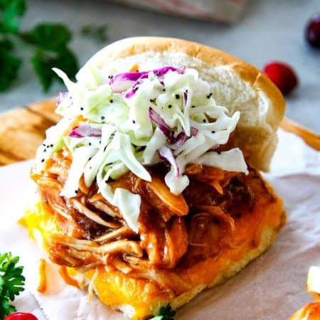 Chipotle BBQ Cranberry Turkey Sliders (or chicken!) with Apple Poppy Seed Slaw