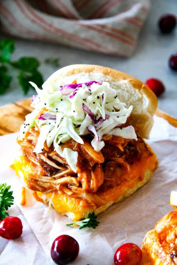 Chipotle BBQ Cranberry Turkey Sliders (or chicken!) are a wonderfully delicious way to devour your Thanksgiving turkey leftovers or SO good you will want to make them forever and ever with chicken! And don't skip the crunchy, sweet and tangy out of this world Apple Poppy Seed Slaw!