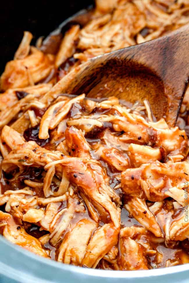 up close of saucy barbecue turkey for turkey sliders