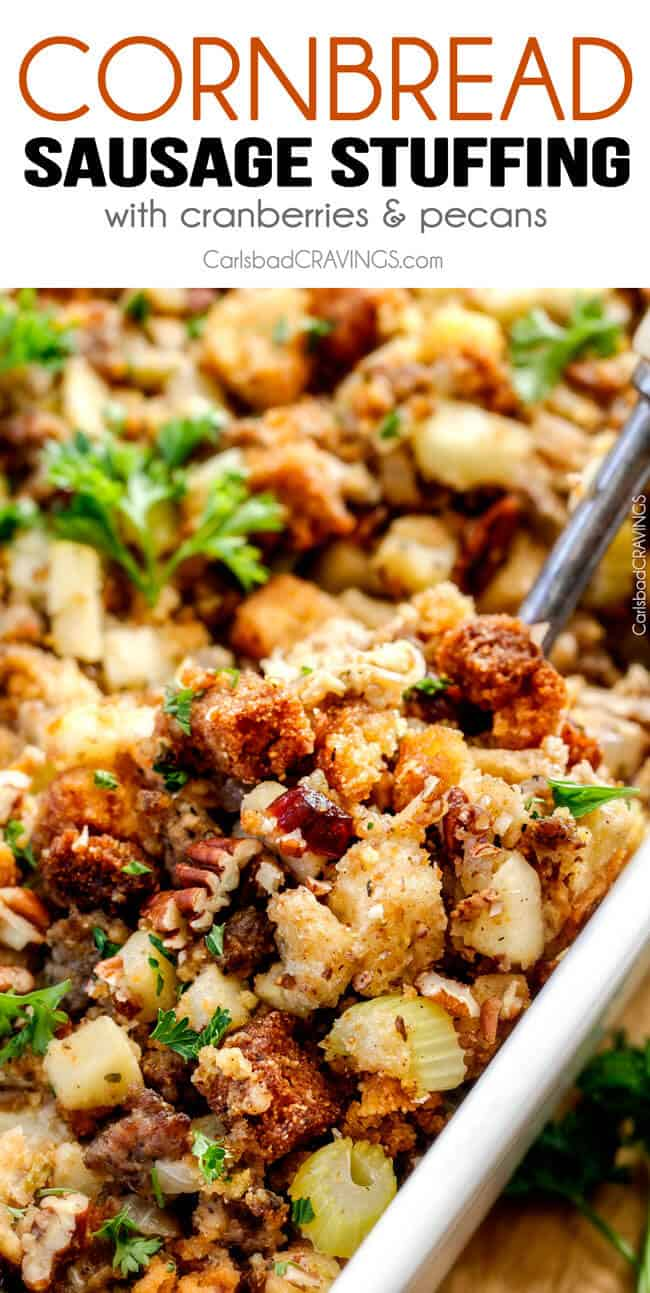 Thanksgiving Cornbread Sausage Stuffing (Dressing) with dried cranberries, apples and pecans is destined to become your new go-to recipe!! The wonderfully savory, buttery herb infused stuffing is moist, flavorful, easy and absolutely addicting!