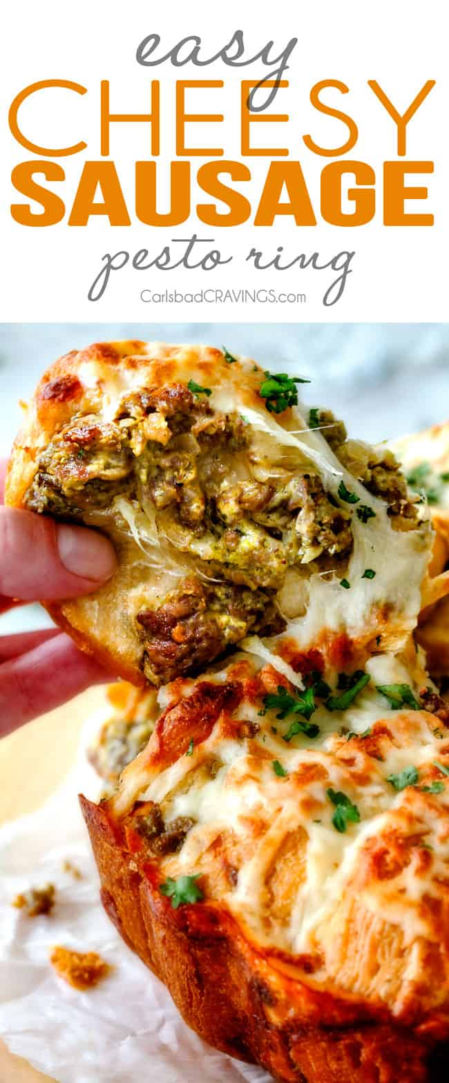 Easy Cheesy Pesto Sausage Ring is SO ADDICTING! my husband and I couldn't stop eating it and then I was craving it for days! You have to make this!!! The absolutely best holiday or game day appetizer!