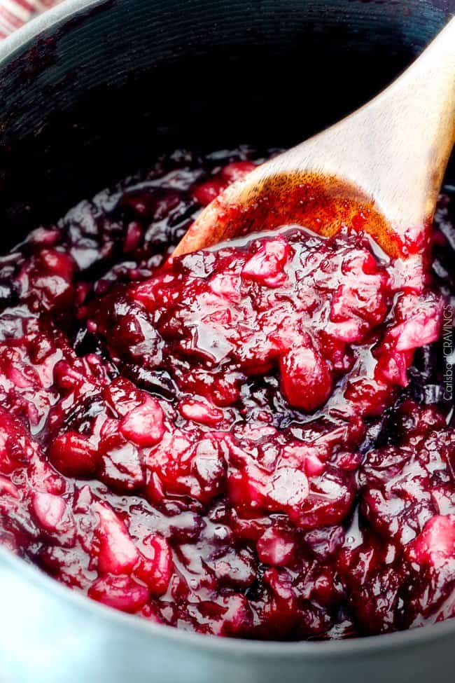 Pineapple Cranberry Sauce – so much better than canned and SO easy! Sweet and tangy and so company rave worthy! This will be your new favorite cranberry sauce for Thanksgiving!