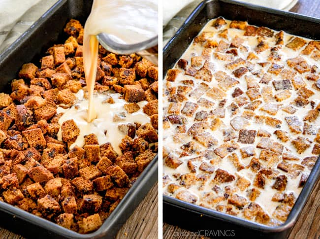 My family is obsessed with this Pumpkin Bread Pudding! Its moist, mega flavorful and the Brown Sugar Caramel Sauce is out of this world! #thanksgiving #dessert #fall
