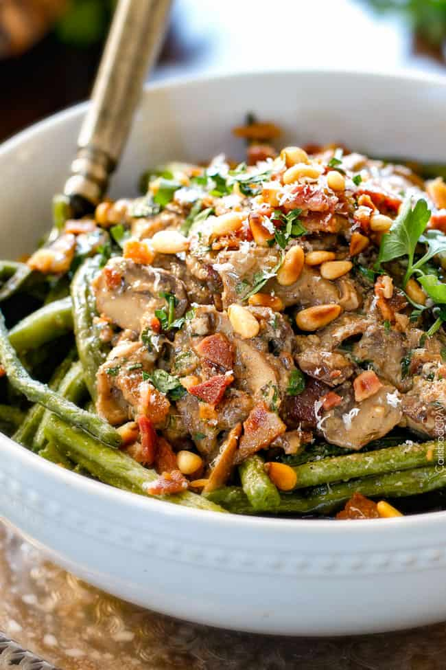 up close of Roasted Green Beans with Bacon, Parmesan and pine nuts