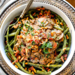 Roasted Green Beans with Cremini Bacon Mushroom Sauce