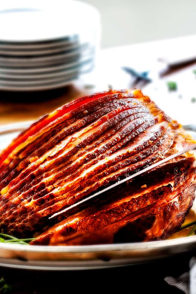 Maple Glazed Ham with on a plate with maple glaze