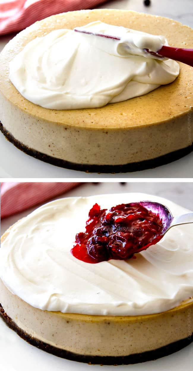 Cranberry Eggnog Cheesecake with Gingersnap Crust
