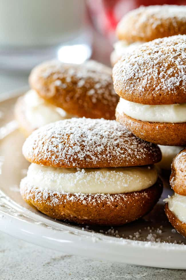 up close of Gingerbread Whoopie Pies with filling