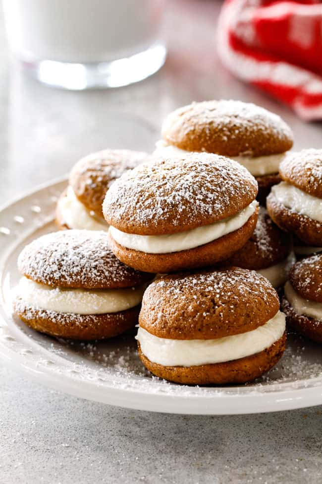 the best whoopie pies recipe stacked on a pate