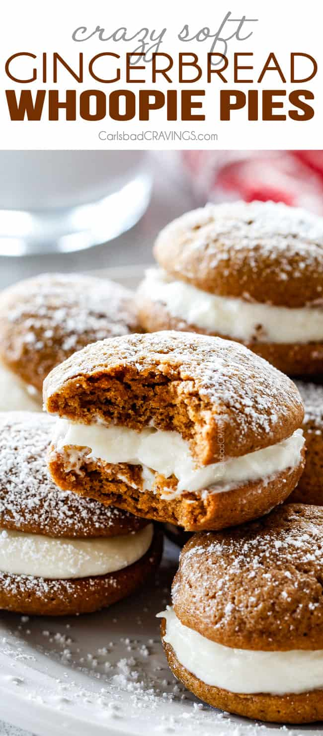 easy Whoopie Pies recipe stacked on a plate